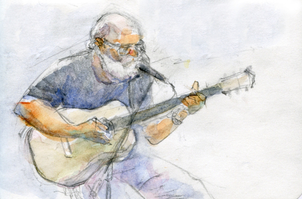 A watercolor and pencil sketch of a white-bearded musician playing an acoustic guitar